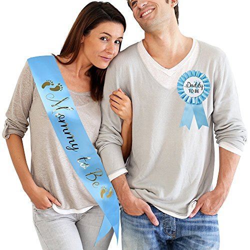 TTCOROCK Baby Shower Light Blue Sash Daddy to Be Tinplate Badge Combo Kit Baby Shower Party Gender Reveals Party Gifts (Light Blue) -