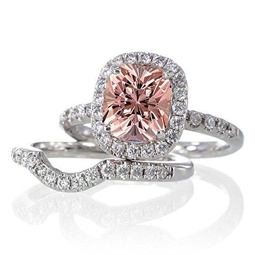 2 Carat Unique Morganite and diamond Bridal Ring Set on 10k White Gold