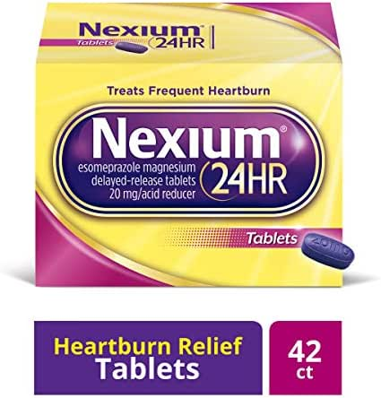 Nexium 24HR (42 Count, Tablets) All-Day, All-Night Protection from Frequent Heartburn Medicine with Esomeprazole Magnesium 20mg Acid Reducer