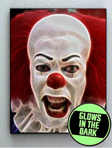 Pennywise IT Scary Creepy Clown Glow In The Dark Framed Cool Art Movie Mini ()
