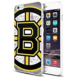 NHL HOCKEY Boston Bruins Logo, Cool Case Cover For Apple Iphone 4/4S Smartphone Collector iphone PC Hard Case White [By PhoneAholic]