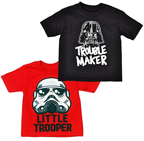 Disney Star Wars Toddler Boys 2 Pack T Shirts Darth Vader & Stormtrooper Prints (3T)