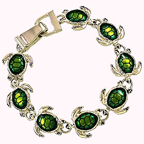 Silver Tone Green Turtle Tortoise Magnetic Clasp Charm - Silver Tortoise