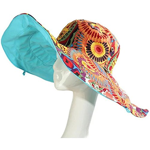 EYX Formula Women's Wide Large Brim Beach Cap for Travel,Flower Floppy Hat Foldable for Swimming with UPF - Know I Shape Of Do My The Face How