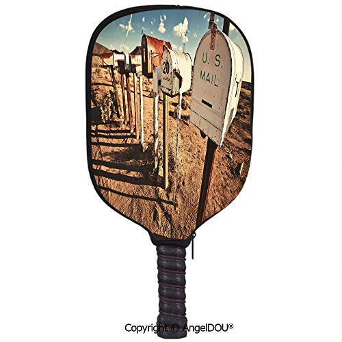 AngelDOU United States Waterproof Zipper Single Pickleball Paddle Racket Cover Case Old Mailboxes in West America Rural Rusty Landscape Grunge Countryside Decorative for for Most Rackets.Brown Blue Wh