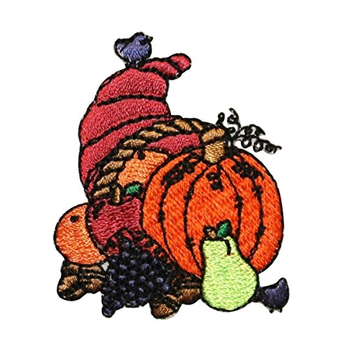 ID 1254 Cornucopia Fall Harvest Patch Thanksgiving Embroidered Iron On Applique