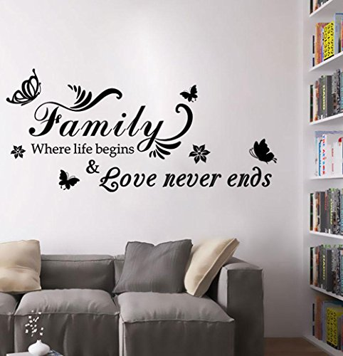 BIBITIME Butterflies Sayings Quotes Where Life Begins Love Never Ends Flower Family Wall Sticker Inspirational Vinyl Decal for Living Room Bedroom Nursery,29.52