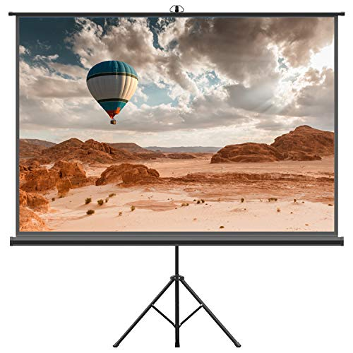 Projector Screen with Tripod Stand - FEZIBO 100 inch 4:3 HD Projection Screen with Stand Portable Foldable for Outdoor Indoor,160° Viewing Angle ()