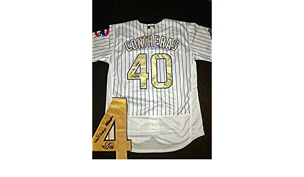 info for 2b77f bec07 Willson Contreras Autographed Gold Championship Chicago Cubs ...