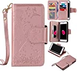 iPhone 8 Plus Case iPhone 7 Plus Wallet case,Premium Leather Folio Book Style,Built-in CosmetologyMirror &9 Card Slots Cash Pocket,Wrist Strap Magnetic Closure Case By LEMY JOURNEY (ROSE GOLD)