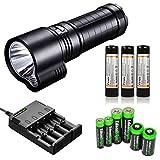 FENIX TK51 1800 Lumen Dual Beam CREE XM-L2 U2 LED Flashlight with 3X Fenix ARB-L2 18650 2600mAh Li-ion rechargeable batteries, home/car smart Charger and EdisonBright battery sampler bundle