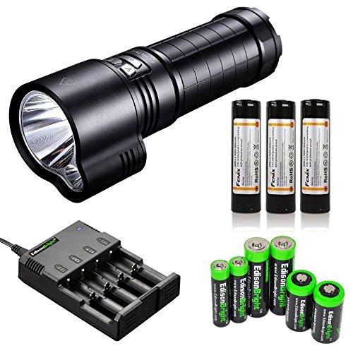 FENIX TK51 1800 Lumen Dual Beam CREE XM-L2 U2 LED Flashlight with 3X Fenix ARB-L2 18650 2600mAh Li-ion rechargeable batteries, home/car smart Charger and EdisonBright battery sampler bundle by EdisonBright