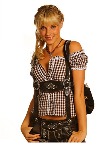 Tolle Damen Trachten Bluse mit Träger in vers. Farben Gr. XS-XXL Deutscher Hersteller (M, braun)