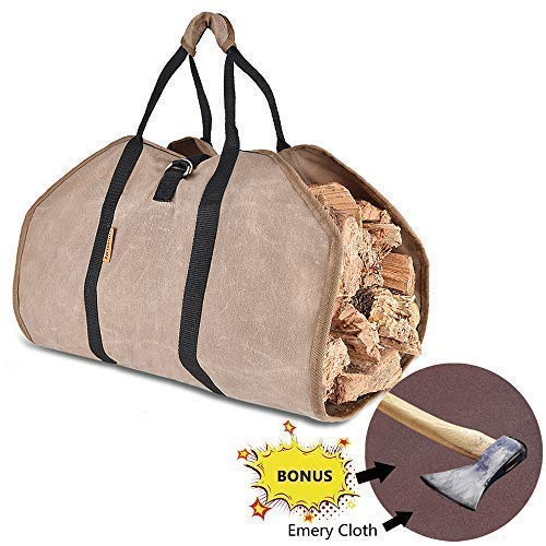 Waxed Canvas Firewood Log Carrier,Tote Wood Carrying Bag for Woodpile Fireplace,Camp,Stove,Cabin Durable Heavy Duty Handle ,Washed,Resistance soiling Outdoor Indoor (39inchesx18inches)(Canvas-Emery)