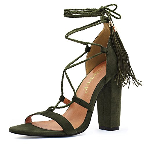 Allegra K Womens Tacco Alto Nappa Lace Up Sandali Army Green-4 1/2 Pollici