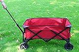PATIO WATCHER Collapsible Folding Wagon Utility Wagon Cart Outdoor Garden Camping Wagon Sports Wagon Heavy Duty, Red