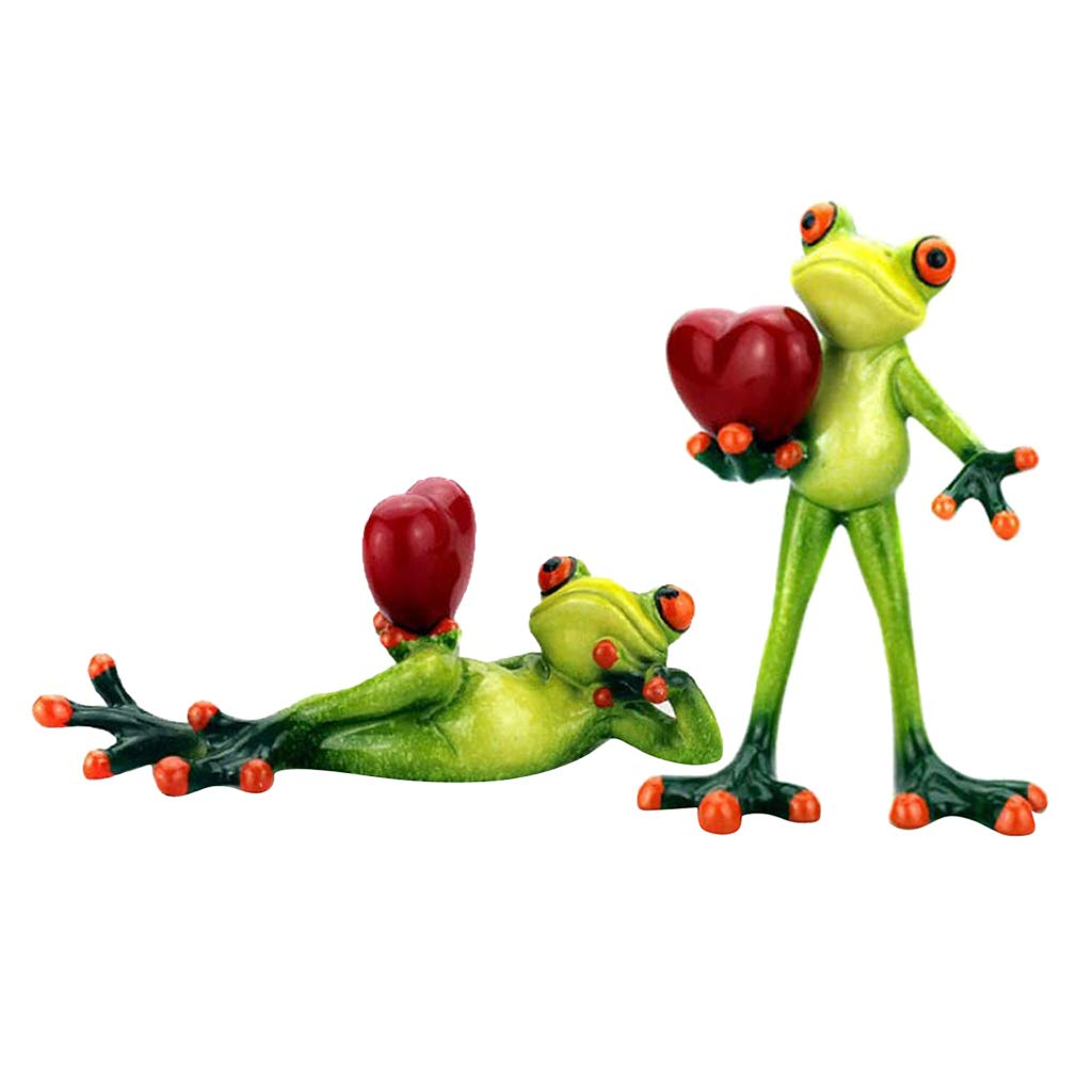 B Blesiya 2pcs Home Decorative Kawaii Yoga Frogs Figurine Kid's Toy Modern Resin Home Sculpture Resin Model Animal Crafts Gifts