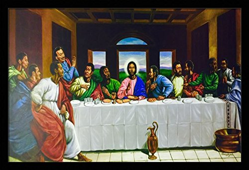 US Art The Last Supper (Religious) - Johnny Myers 24x36 Black Framed - African American Black Art Print Wall Decor Poster #