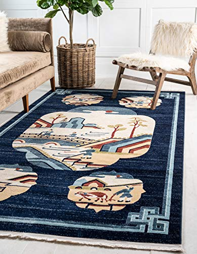 Unique Loom Gansu Collection Antique Finish Animal Chinese Pattern Navy Blue Area Rug (5' 0 x 8' 0) (Chinese Antique Rug)