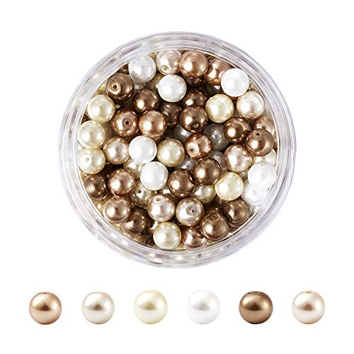 Pandahall Caramel Mix Theme 8mm Satin Luster Environmental Glass Pearl Beads for DIY Jewelry Craft Making About 200pcs/box