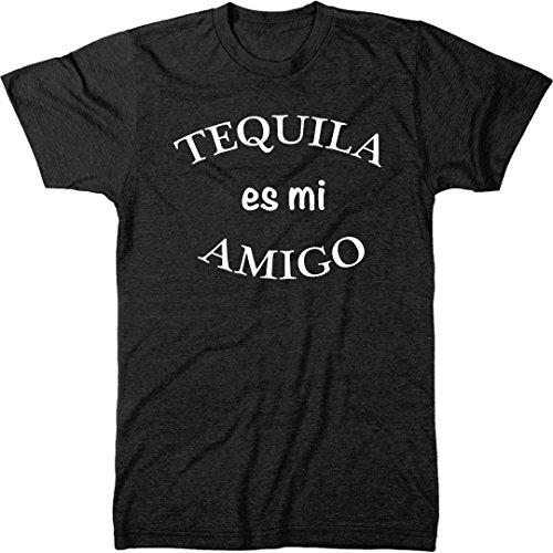 Tequila ES Mi Amigo Men's Modern Fit Tri-Blend T-Shirt (Vintage Black, Small) ()