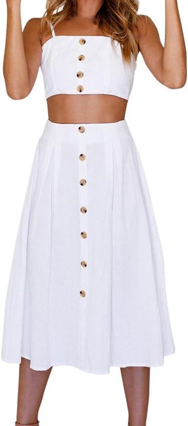 QinMM Mujer Camiseta con Botones + Falda de Conjunto, Blusa de ...