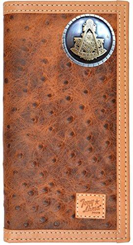 Custom Tony Lama Masonic Past Master Ostrich Print Leather Wallet Brown