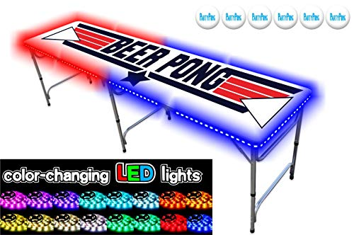 PartyPongTables.com 8-Foot Beer Pong Table with LED Lights - Top Pong