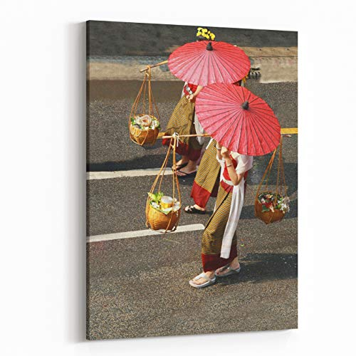 Rosenberry Rooms Canvas Wall Art Prints - Female Shopkeeper in Thai Old Fashioned Traditional Cloth,red Paper Umbrella and Load Thai Food in Bamboo Basket Walk On Road, Thailand (12 x 18 inches)