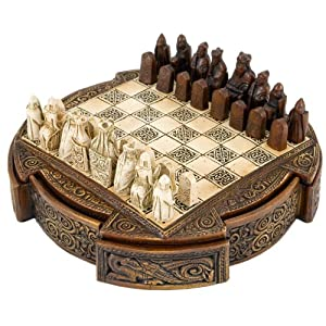 Isle Of Lewis Compact Celtic Chess Set 9 Inches
