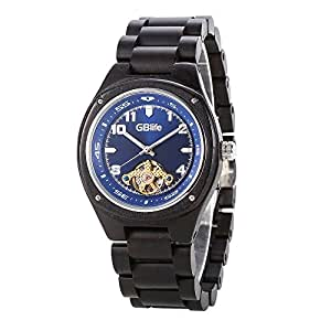 GBlife Mens Auto Mechanical Wooden Watch with Luminous Sapphire Dial Wood Band #GM492 (Ebony Wood)