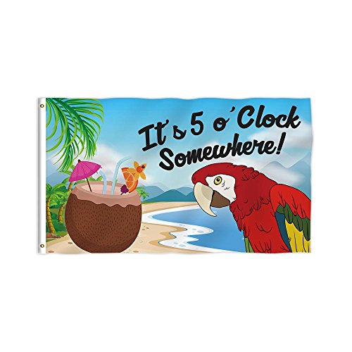 KafePross It's 5 O'Clock Somewhere Flags Happy Party Parrot Summer Decor Banner 3X5 FT Print One Side