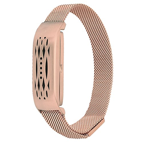 Compatible Fitbit Flex 2 Bands, Stainless Steel Milanese Loop Wrist Metal Mesh Replacement Accessory Replacement for Fitbit Flex 2(Milanese Rose Gold)