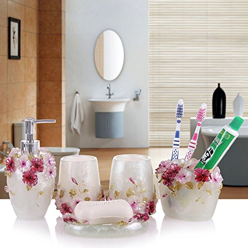 Haosen-six Resin 5 Pieces Bathroom Accessory Set Butterfly -Colorful Tropical Butterfly Design Ensemble,Bathroom Vanities,Home Decor ()