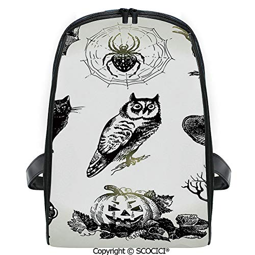 SCOCICI Lightweight Travel Backpack Halloween Related Pictures Drawn by Hand Raven Owl Spider Black Cat Decorative Holiday Gift for Girls]()