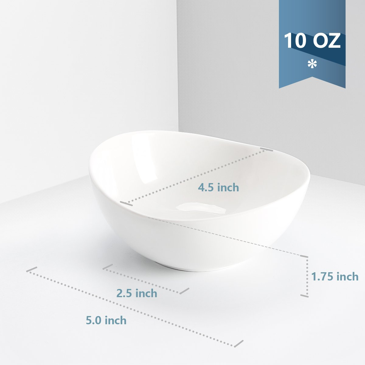 Sweese 1106 Porcelain Bowls - 10 Ounce for Ice Cream Dessert, Small Side Dishes - Set of 6, White by Sweese (Image #4)
