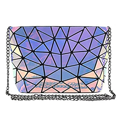 ZLMBAGUS Fashion Hologram Laser Envelope Clutch Geometric Pattern Metal Chain Shoulder Crossbody Bag Size: One Size
