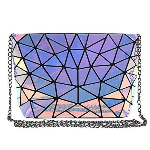 (Sun Kea Geometric Bag Women Cross-Body Bag PU Shoulder Bag Chain Bag Laser Clutch Purse Bags(Laser))