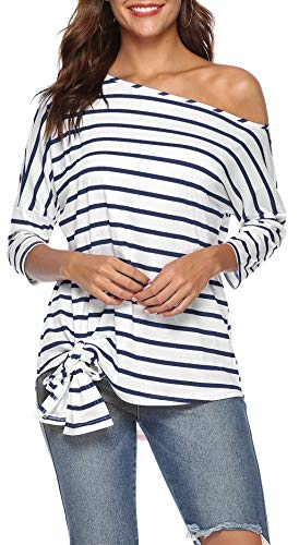 FALLINLOVE Womens Sexy One Off The Shoulder Tops Casual Shirts Tee 3/4 Sleeve Tie Front Striped Blouses