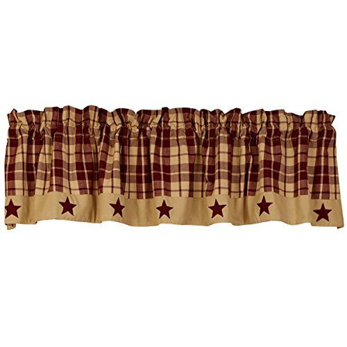 The Country House Collection Burgundy Farmhouse Star Valance (72x14'')