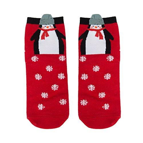 Lady Red Soft Thick Knitting Socks White Snowflakes Socks Penguin Pattern Socks (Snowflake Knitting Pattern)