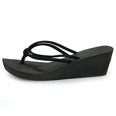 8024a60abbdd Image Unavailable. Image not available for. Color  Rubber Jacket Casual Fashion  Sandals Shoes Beach Flat Wedge Dresses Women s Slippers Summer Style