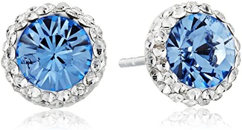 Amazon Collection Sterling Silver Swarovski Crystal Halo Stud Earrings