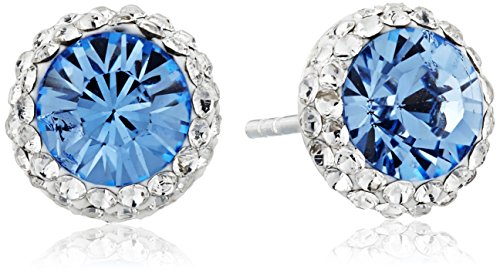 Sterling Silver Swarovski Crystal Halo Blue Stud Earrings