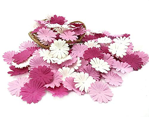(NAVA CHIANGMAI 100 Pink Color Tone mulberry Paper Daisy Flowers Scrapbooking Embellishment)