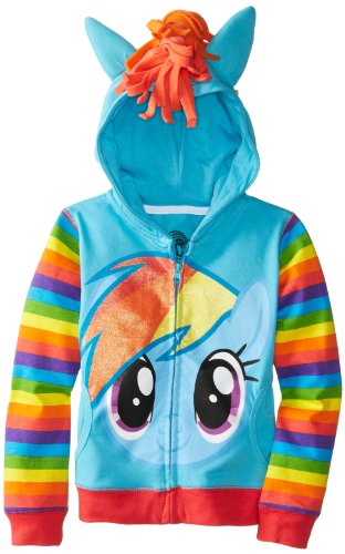 (FREEZE Big Girls' My Little Pony Rainbow Dash Hoodie, Blue/Multi, 7/Small)