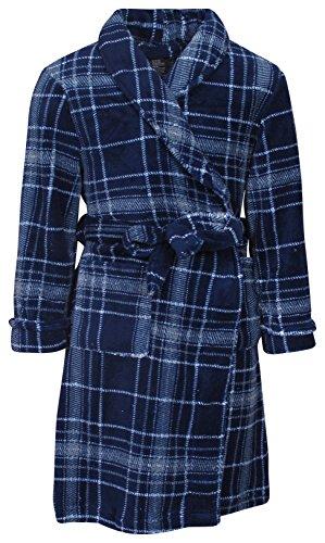 Flannel Kids Robe (Mac Henry Boys Coral Fleece Printed Robe, Blue Plaid, Size 6/8)