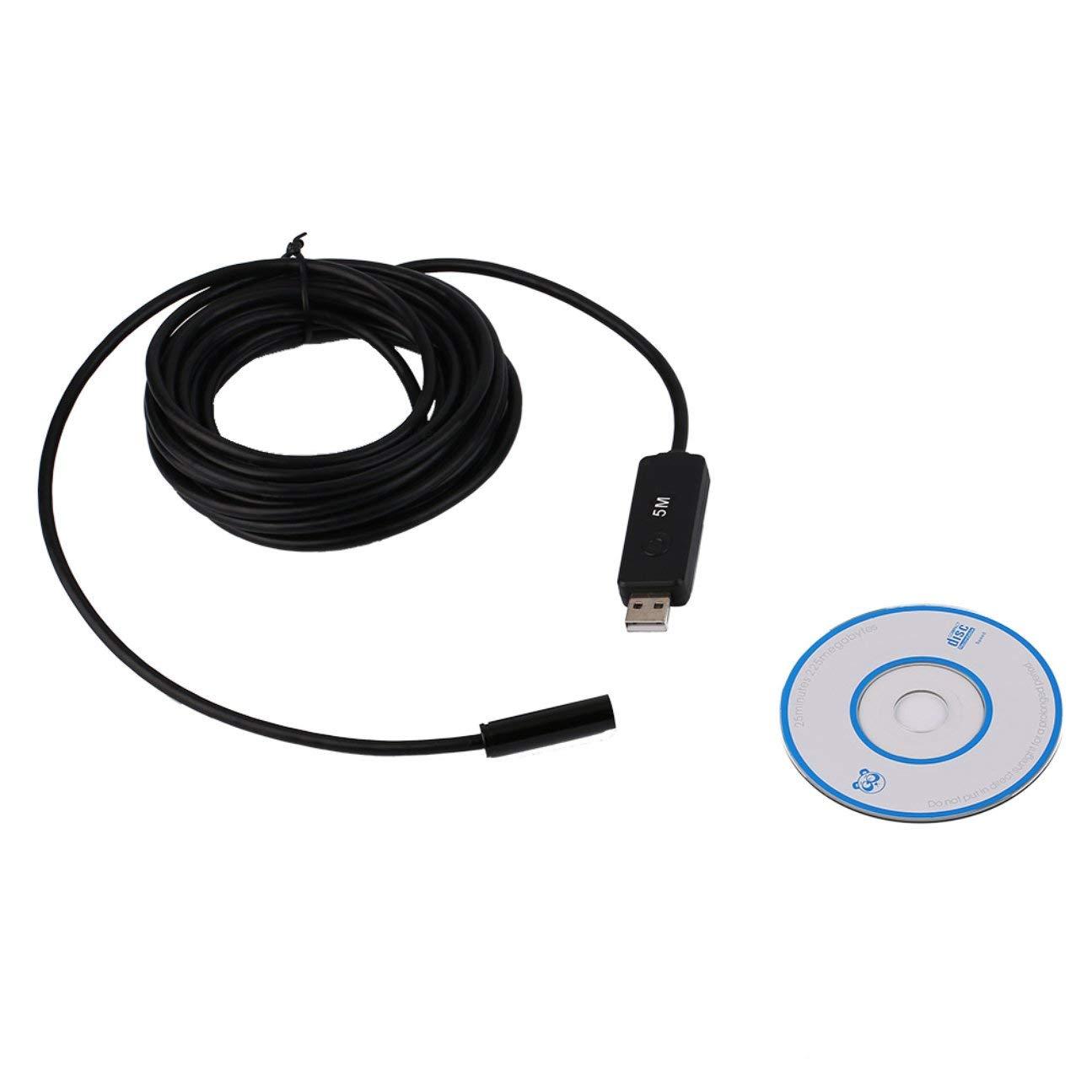 MachinYesell 5M 10mm 4 LED USB Etanche 4LED USB Endoscope Borescope Inspection Serpent Tube Mini Endoscope Cam/éra Noir
