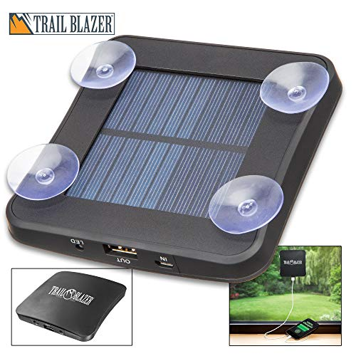 (K EXCLUSIVE Trailblazer Portable Solar Charger and Power Bank - 1800 MAH, Polymer Li-Ion Battery, Micro USB Cable Included, Window Suction Cups - Dimensions 4 1/2