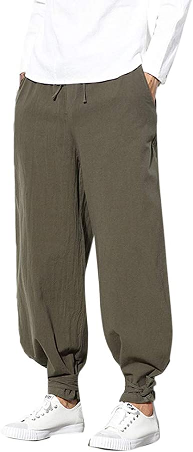 Abeaicoc Mens Loose Solid Cotton Elastic Waist Casual Pants Trousers